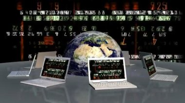 Earth and laptops with random numbers on screen — Vídeo Stock
