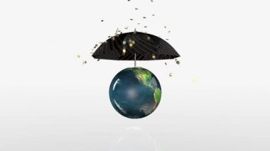 Earth Globe Crashing, golden coins falling on rotating umbrella — Stock Video