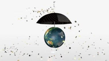 Earth Globe Crashing, golden coins falling on rotating umbrella, Alpha — Vídeo de stock