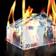 Royalty-Free Stock Vector Image: EURO House on Fire, loop