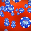 Poker chips against red — Stock Video