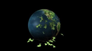 Earth Rotating and Ivy with Alpha — Stock Video