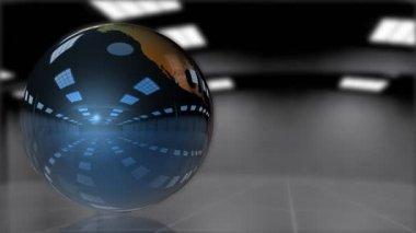 Earth Globe shiny metallic rotating,looping — Stock Video