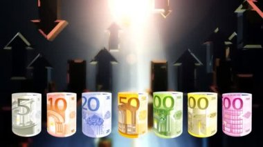 Euro currency spinning and arrows flying, financial concept, loop — Stock Video