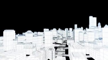 Pływające miasto szkicu na biały, krawędzie blask — Wideo stockowe