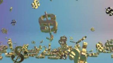 Golden USD sign falling,Alpha — Stock Video