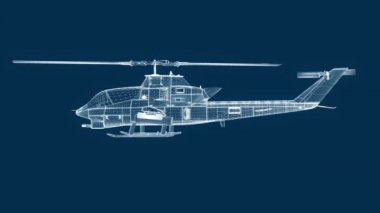Blueprint helicopter, seamless loop — Stock Video