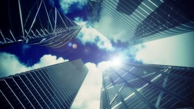 Office buildings,timelapse clouds and aircraft flying, gold tint — Stock Video