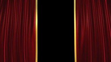 Theater-vorhänge und grunge-countdown, alpha — Stockvideo
