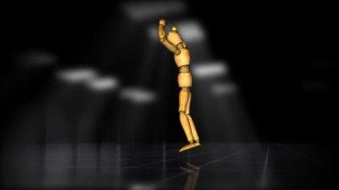 Wooden mannequin dance of joy, alpha — Stock Video