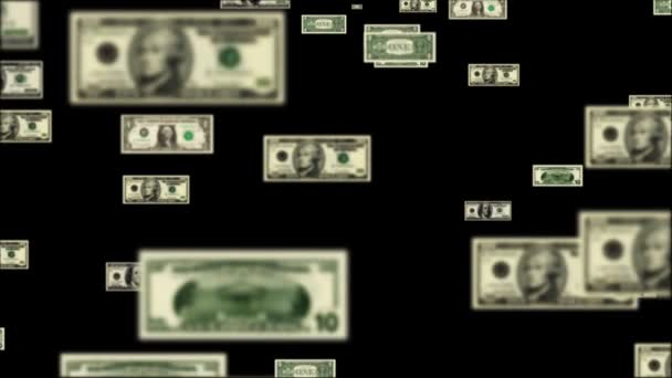 USD bills flying and forming Debt Word — Vidéo