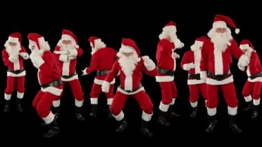 Santa Claus Crowd Dancing, Christmas Party Merry Christmas Shape, against black — Stock Video