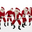 Santa Claus Crowd Dancing, Christmas Party Merry Christmas Shape, against white — Stock Video #14900105