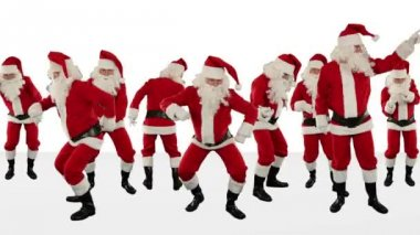 Santa Claus Crowd Dancing, Christmas Party Merry Christmas Shape, against white — Stock Video