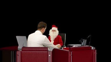 Santa Claus at Doctor, measuring blood pressure, Alpha Channel — Stock video