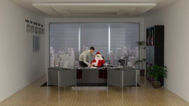 Santa Claus and Businessman signing a contract — Stock Video