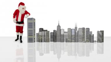 Santa Claus magically building a modern city, Alpha Channel — Stock Video