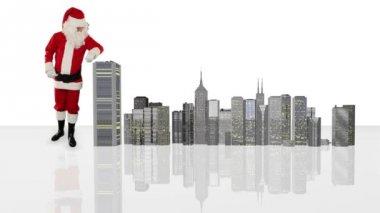 Noel Baba sihirli bina modern şehir, alfa kanalı — Stok video