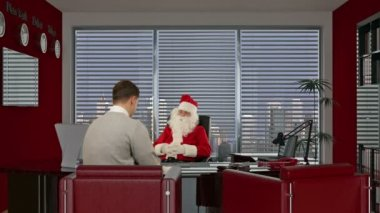 Santa Claus signing a contract with a Businessman, smiling — Stock Video