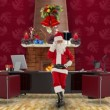 Stock Video: SantClaus talking on mobile in his modern Christmas Office