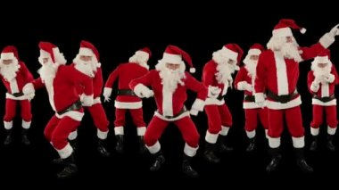 Santa Claus Crowd Dancing, Christmas Party — Stock Video