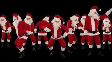 Santa Claus Crowd Dancing, Christmas Party — Stock Video