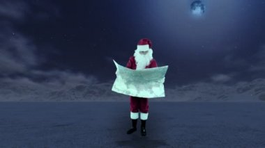 Santa Claus in the middle of nowhere trying to find his way on a map — Stock Video