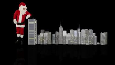 Santa Claus magically building a modern city — ストックビデオ