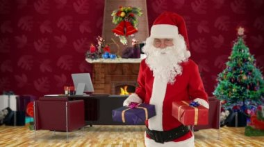 Santa Claus holding presents in his modern Christmas Office — Stock Video
