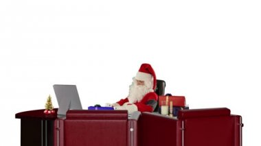 Santa Claus at work checking blood pressure, against white — Stock Video