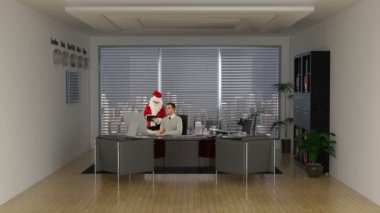 Santa Claus taking online shopping advice from a young Businessman — Stock Video