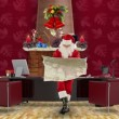 Santa Claus reading a map in his modern Christmas Office — Stock Video