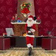 Santa Claus taking notes on a clipboard in his modern Christmas Office — Stock Video
