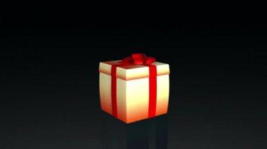 Geschenk box openen deksel te presenteren een virtuele product, op black.mov — Stockvideo