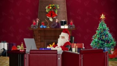 Santa Claus at work checking blood pressure, office with Christmas decorations — Stock Video