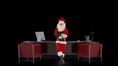Santa Claus taking notes on a clipboard in his modern Christmas Office, against black — 图库视频影像