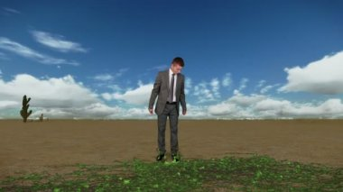Businessman in Desert with Ivy Growing and Time Lapse Clouds, Caught in Time — Stock Video