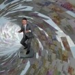 Businessman Surfing inside a Tube made of Euro Currency — Stock Video