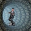 BusinessmSurfing inside Tube made of US Dollars — Stock Video #18910851