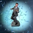 Businessman surfing on a wireframe tunnel surrounded by question and exclamation marks — Stock Video