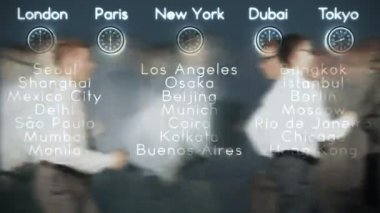 Businessmen Rush Hour with World Clocks and Big Cities on Background, loop — Stock Video