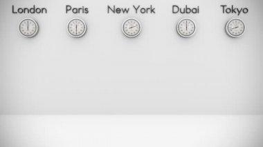 Fundo de relógios do mundo com espaço para texto — Vídeo Stock