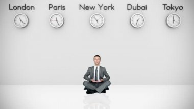 Businessman Meditating with World Clocks and Big Cities on Background — Stock Video