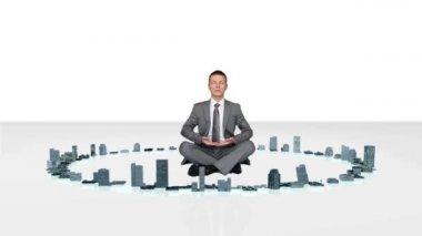 Businessman meditating with buildings rising around him — Stock Video