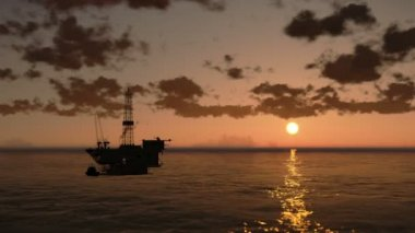 Oil Rig in Ocean, time lapse clouds at sunset, helicopter view — Stock Video