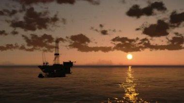日没で、ヘリコプターを見る時の経過は雲、海で石油リグ — ストックビデオ
