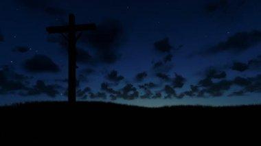 Ježíše na kříž, louka a timelapse sunrise — Stock video