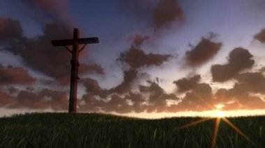 Jesus på cross, äng och timelapse sunrise, panorering — Stockvideo