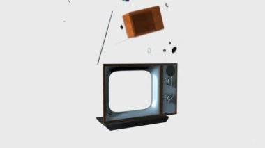 Old TV Transforming into a New TV against white, Screen only Alpha — Stock Video