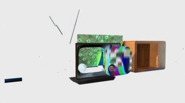 Old TV Transforming into a New TV against white, static camera, Screen only Alpha — Stock Video